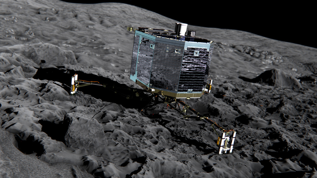 Philae_on_the_comet_Front_view