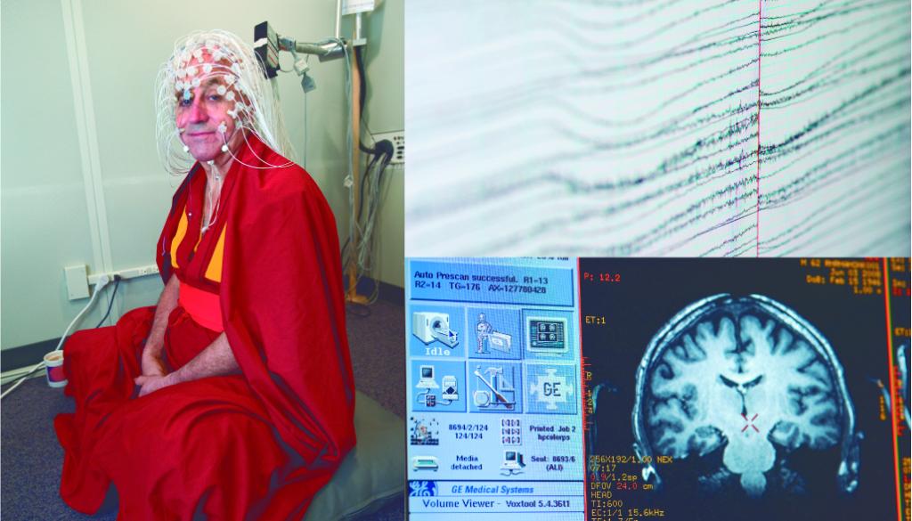Izquierda: El monje budista Matthieu Ricard preparado par uno de los experimentos en la Universidad de Wisconsin. Derecha: Resultados de los estudios (EEF y del fMRI). Fuente: Jeff Miller / University of Wisconsin-Madison